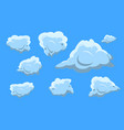 cloud collection set on blue background flat vector image