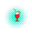 Cocktail icon comics style vector image