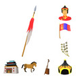 country mongolia cartoon icons in set collection vector image vector image