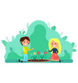 couple people planting flowers gardening hobby vector image