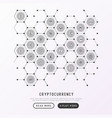 cryptocurrency concept in honeycombs vector image vector image