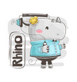cute barhino is listening music for baby vector image vector image