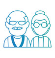 cute grandparents couple avatars characters vector image vector image