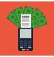 dataphone payment device bills vector image vector image