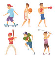 different sports activities sportsmen in action vector image vector image