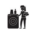 dish washing machine black concept icon vector image vector image