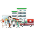 Doctors and nurse working at hospital vector image