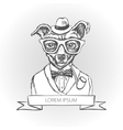 dog hipster with tattoo dressed up vector image vector image