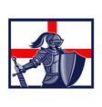 English Knight Holding Sword England Flag Retro vector image vector image