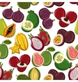 Exotic and tropical fruits seamless pattern vector image vector image