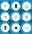 flat icon garment set of elegant headgear panama vector image vector image