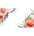 floral watercolor bouquet frame border design vector image vector image