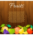 Fruit banner on wood background vector image vector image