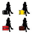 girl silhouette sitting on vintage suitcase vector image vector image