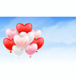 group heart balloon floating in blue sky vector image vector image