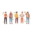 group people in protective medical masks vector image vector image