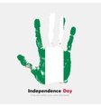 Handprint with the Flag of Nigeria in grunge style vector image vector image