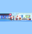 hospital hall interior patients and doctors in vector image vector image