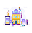hotel booking people searching and reservation vector image vector image