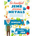 jeweler profession gems and jewels vector image vector image
