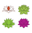 lotus flower icon set color outline style vector image vector image