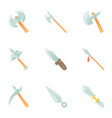 medieval weapon icons set cartoon style vector image vector image