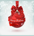 merry christmas greeting card decoration with red vector image