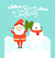 merry christmas greeting card with santa vector image