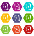 playing card icon set color hexahedron vector image vector image