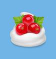redcurrant in yogurt or ice cream vector image vector image