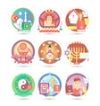 religion and confession icons flat colorful vector image