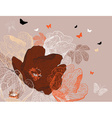 Seamless Brown Floral Background with Butterflies vector image vector image