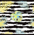 seamless pattern with tropical leaves on black and vector image vector image