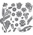 set hand draw black flower design vector image