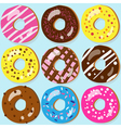 Set of 9 assorted doughnut icons with different vector image