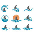 shark fin icon set vector image