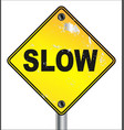 slow yellow traffic sign vector image vector image