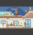 smiling people taking different transport metro vector image vector image