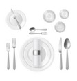 table setting top view realistic 3d silver