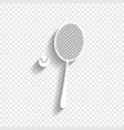 tennis racquet with ball sign white icon vector image