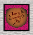 Valentine day typography rose frame on wood vector image vector image