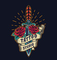 vintage tattoo studio colorful emblem vector image vector image