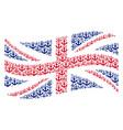waving british flag pattern of anchor icons vector image