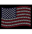 waving usa flag stylization of hammers vector image
