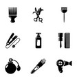 woman hairdresser tools icons set simple style vector image vector image