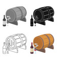 wooden wine barrel icon in cartoon style isolated vector image vector image