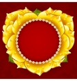 yellow Rose heart frame vector image vector image