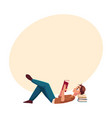 young man boy reading book lying on the floor vector image