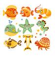 cartoon underwater world with fish plants marine vector image