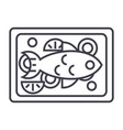 fried fish line icon sign on vector image